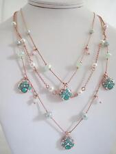 Betsey Johnson 'betsey and the sea' rose gold tone mint illusion necklace, NWT