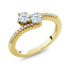 0.90 Ct Round White Topaz Two Stone 18K Yellow Gold Plated Silver Ring