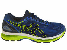 NEW MENS ASICS GEL-NIMBUS 19 RUNNING SHOES TRAINERS INDIGO BLUE / SAFETY YELLOW