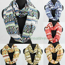 Women Fashion Scarves Flower Pattern Floral Striped Long Shawl/Infinity Scarf