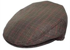 Men's Plaid Golf Summer flat Ivy Driving Cabbie Newsboy Cap Hat  Gray / Brown