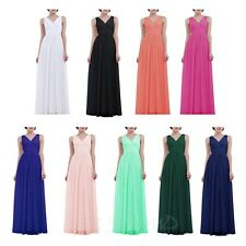 Women's V Long Wedding Bridesmaid Chiffon Prom Ball Cocktail Party Evening Dress