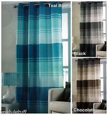 Contemporary Stripe Striped Faux Silk Eyelet Ring Top Curtain Panel 145 x 228cm