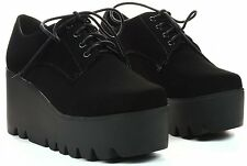 Round Toe Lace Up Loafer High Platform Ankle Wedge Heel Bootie Shooties