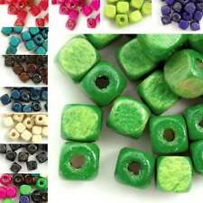 30g(150pcs approx) Loose Wooden Spacer Wood Dyed Beads Findings Cube 6x6mm