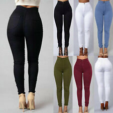 Women Slim Pencil Stretch Casual Denim Skinny Jeans Pants High Waist Trousers