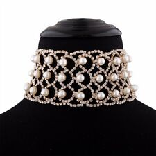 Shiny Ladies Widen Rhinestone Choker Gold Silver Clavicle Necklace Pearl Necklet