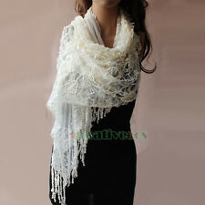 Fashion Women's Mesh Nets Embroidery Floral Lace Trim Tassel Mantilla Long Scarf