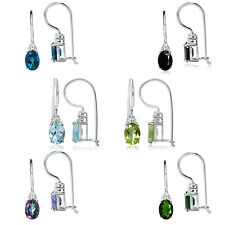 Genuine Gemstone 925 Sterling Silver Hook Closure Earrings