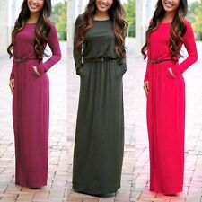 UK Women's Long Sleeve Boho Evening Cocktail Party Summer Beach Long Maxi Dress