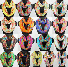 Womens Fashion Scarf Floral Scarf Colorful Flowers Print Soft Infinity Scarf New