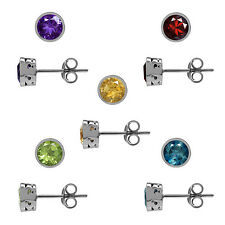 Petite Genuine Gemstone 925 Sterling Silver Filigree Stud Earrings