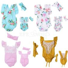 Newborn Baby Girls Floral Romper Bodysuit Jumpsuit Sunsuit Clothes Set Headband