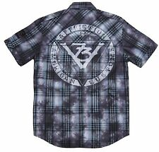 Affliction MOTORS EVENT Button Down Shirt M NWT NEW Skull Black Short Sleeve