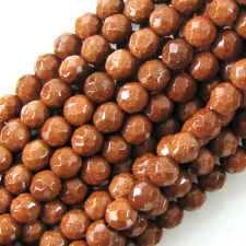"""Faceted Goldstone Round Beads Gemstone 14"""" Strand 4mm 6mm 8mm 10mm 12mm"""