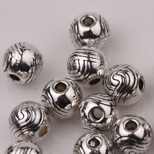 15/30Pcs Tibetan Silver Big Hole Spacer Beads Jewelry Making Craft 6mm NEW