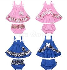 Baby Toddler Girls Summer Sunsuit Outfit Split Top Dress+Short Pants Bottom Set