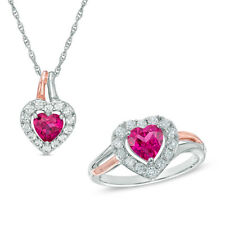 Heart Shape Synthetic Ruby and Natural Diamond Pendant and Ring Set in 14k Gold