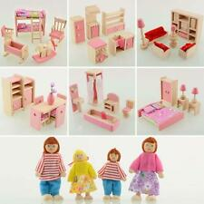 Kid Pink Wooden Furniture Dolls House Miniature 6 Room Set Doll For Xmas Gift ZQ