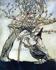 The Two Sisters~Witch, Tree~Arthur Rackham, Fairy Tale Art ~Cross Stitch Pattern