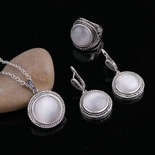 Fashion Jewelry Antique Silver Round Opal Natural Stone Pendant Necklace Sets