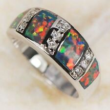 Red Fire Opal 925 Sterling Silver Ring