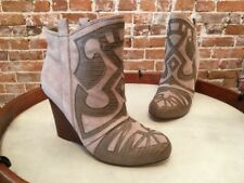 Steve Madden Miitch Taupe Suede Embossed Wedge Ankle Boot NEW