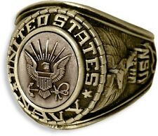 UNITED STATES NAVY SIGNET WITH CAST BRONZE INSIGNIA RING 18K GOLD (GP) & RHODIUM