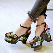 Womens Leather Flower Mary Jane Party Sandals Platform Block Heels Shoes Size