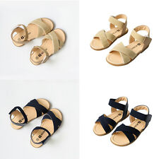 ZNU Girls Kid Baby Toddler Blue Beige Shoes Casual Summer Sandals US Size 6.5-11