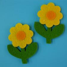 2 Sunflower Leaf Floral Nature Sew on Embroidered Badge Patch Craft Cute Motif L