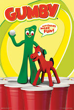 Beer Pong with Gumby Poster (24x36) (Wall Art, Framed Posters, Artwork)