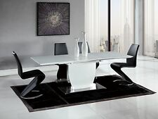 High gloss white lacquer Dining Extendable top Set with Black Upholstered Chairs