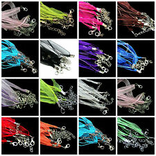 15 Color Voile Strin Organza Ribbon Waxen Cord Chain Clasp Lobster Necklace DIY