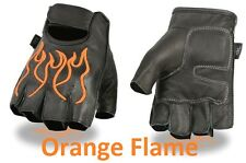 Black Leather FINGERLESS Gloves ORANGE FLAMES Gel Palm Motorcycle Biker Rider