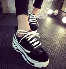 Womens Round Toe Platform Creeper Casual Sports Lace Up Sneakers Shoes Size