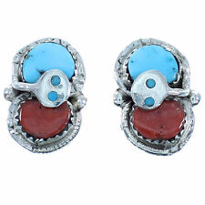 Sterling Silver Turquoise And Coral Zuni Effie Calavaza Snake Post Earrings TX10