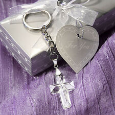Crystal Cross Key Chains - Christening Religious Wedding Favors - 20-144 Qty