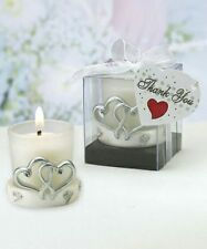 Silver Interlocking Heart Candle Holder - Wedding Party Favors -  14-72 Qty