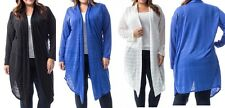Lacey Stripe Open Drape Front Long Sleeve Cardigan/Cover-Up Plus Tunic Top