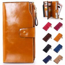 Women GENUINE Leather Party Clutch Wallet Card Holder Pouch Purse Zipper Bag