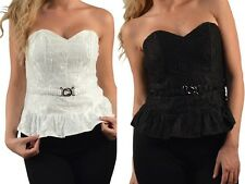 Boned/Belted Zip/Smocked Back Sweetheart Corset/Bustier/Tube Peplum Top