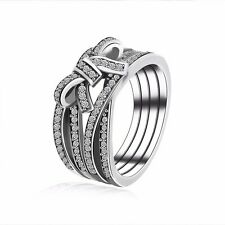 2017 Fashion European 925 Sterling Bow Tie Style Silver Ring Fit Women Size 6-10