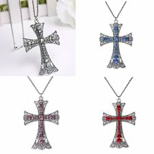 Fashional Crystal Rhinestone Pendant Necklace Cross Crucifix Chain Jewelry Women