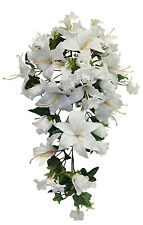 Lilies & Roses Cascade Bridal Bouquet ~ Many Colors ~ Silk Wedding Flowers Decor
