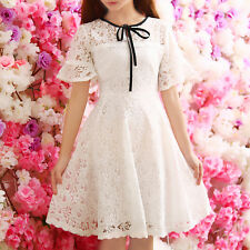 Sweet Girl Lolita Lace Short Sleeve Bowknot Princess Slim Dress Elegant Lady