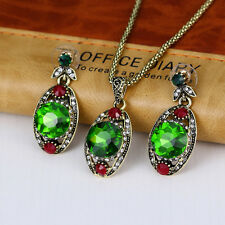 Women Retro Green Rhinestone Pendant Necklace Earrings Ring Jewelry Set Utility