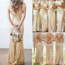 Gold Sequin Bridal Mermaid Bridesmaid Dress Stretchy Backless Wedding Party Gown