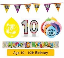 AGE 10 - Happy 10th Birthday Party Banners, Balloons & Decorations