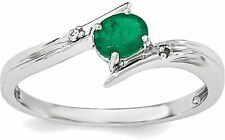 Sterling Silver Rhodium-plated Emerald and Diamond Ring